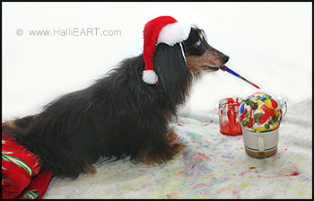 hallie dachshund paints ornaments